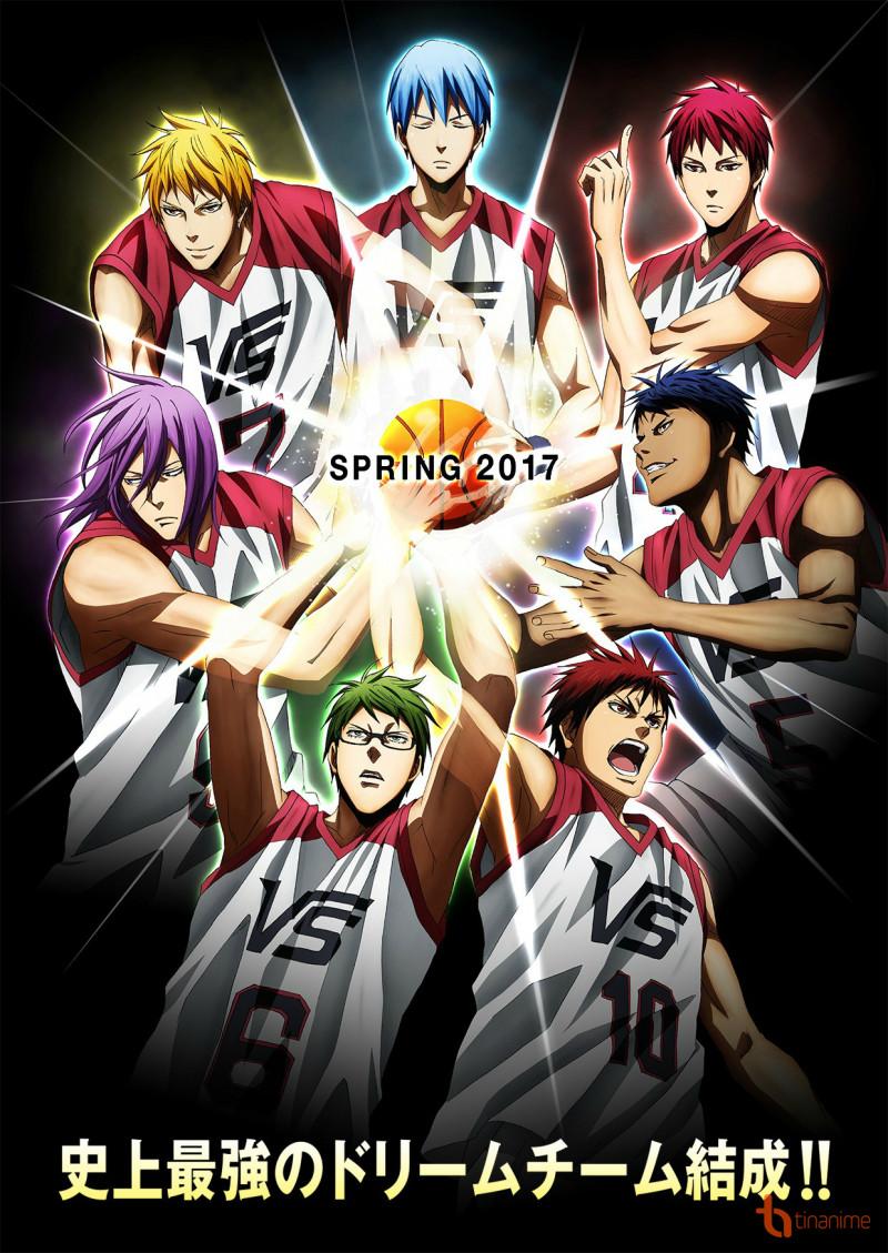 5 thành viên của Thế hệ kỳ tích, cùng với hình ảnh Kuroko và Kagami trong màu áo đồng phục Vorpal Swords.