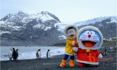 Doraemon và Nobita du hành đến Nam Cực, chụp hình với chim cánh cụt!