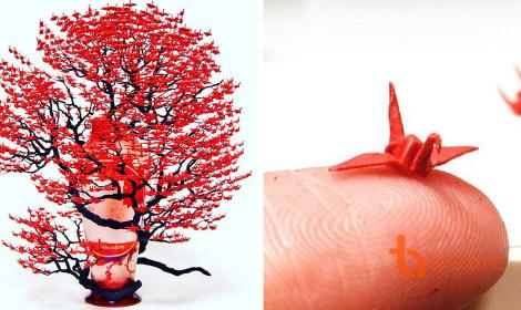 Cây bonsai làm từ 1000 hạc giấy