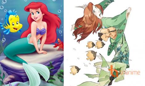 """Khi các nàng công chúa Disney """"diện"""" kimono"""