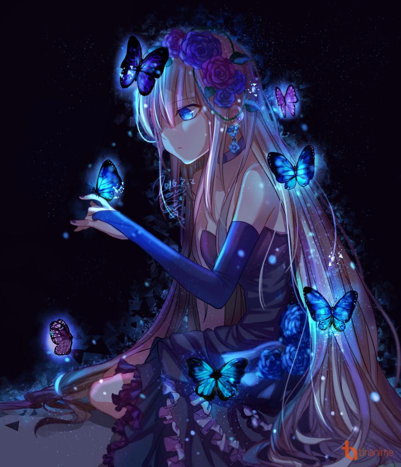 Девушка в платье арт аниме