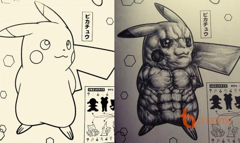 """""""Thất kinh"""" với Pikachu cơ bắp cuồn cuộn"""