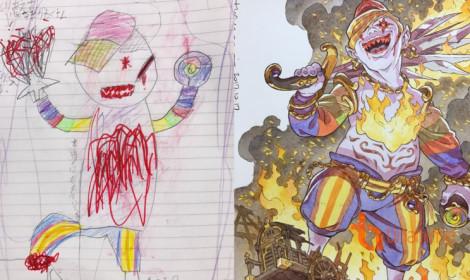 Xứng danh ông bố của năm khi biến những bức vẽ nguệch ngoạc của con thành kiệt tác!