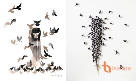 Nghệ thuật điêu khắc trên lông chim quá ảo diệu