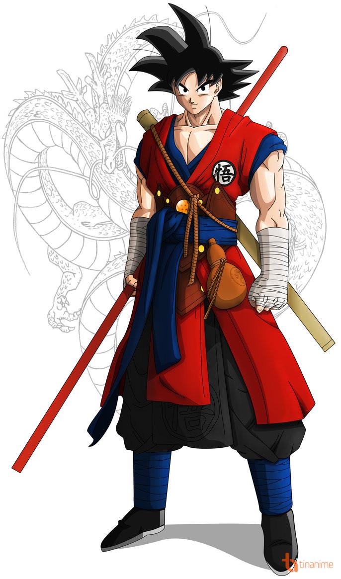 Goku có mái tóc màu đen hình gai nhọn và dường như không đổi style trong suốt series (ngoại trừ khi Goku trong hình dạng Super Saiyan).