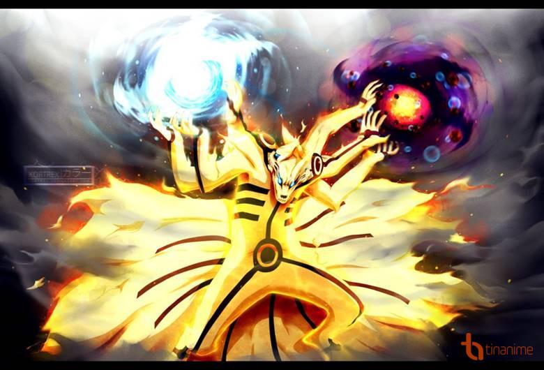Trong khi ở trạng thái Lục Đạo và biến hoàn toàn thành Cửu Vĩ ba đầu sáu  tay, bên tay phải tạo ra Fūton: Chōōdama Rasenshuriken (Phong Độn: Siêu Đại  Ngọc ...