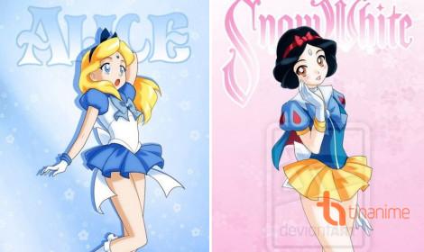 Công chúa Disney phong cách Thủy Thủ Mặt Trăng