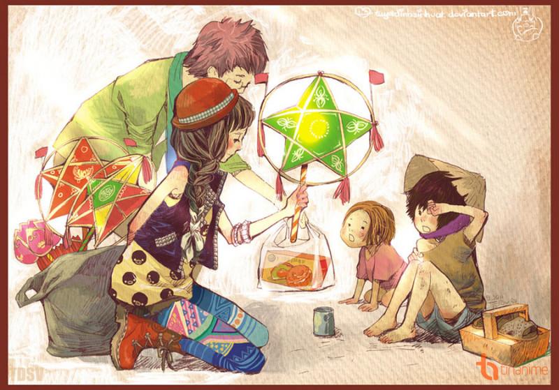Kết quả hình ảnh cho vẽ anime trung thu